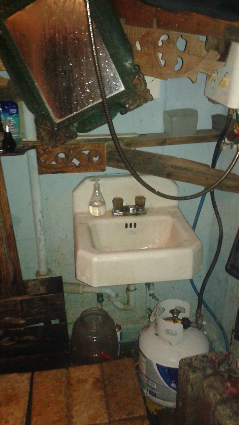 A photo from former Ghost Ship tenant Shelley Mack of a bathroom with propane heating source for showering. Photo taken Jan. 30, 2015.