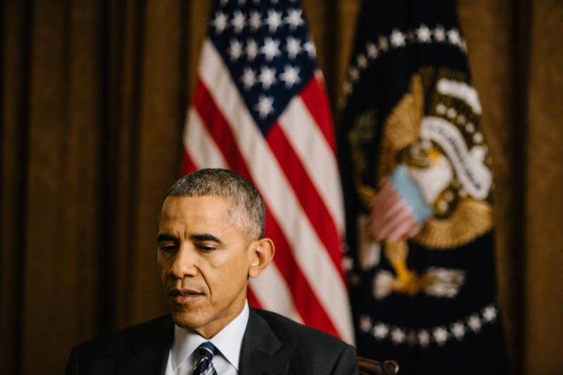 NPR's Steve Inskeep interviews President Obama in the Cabinet Room of the White House on Thursday.