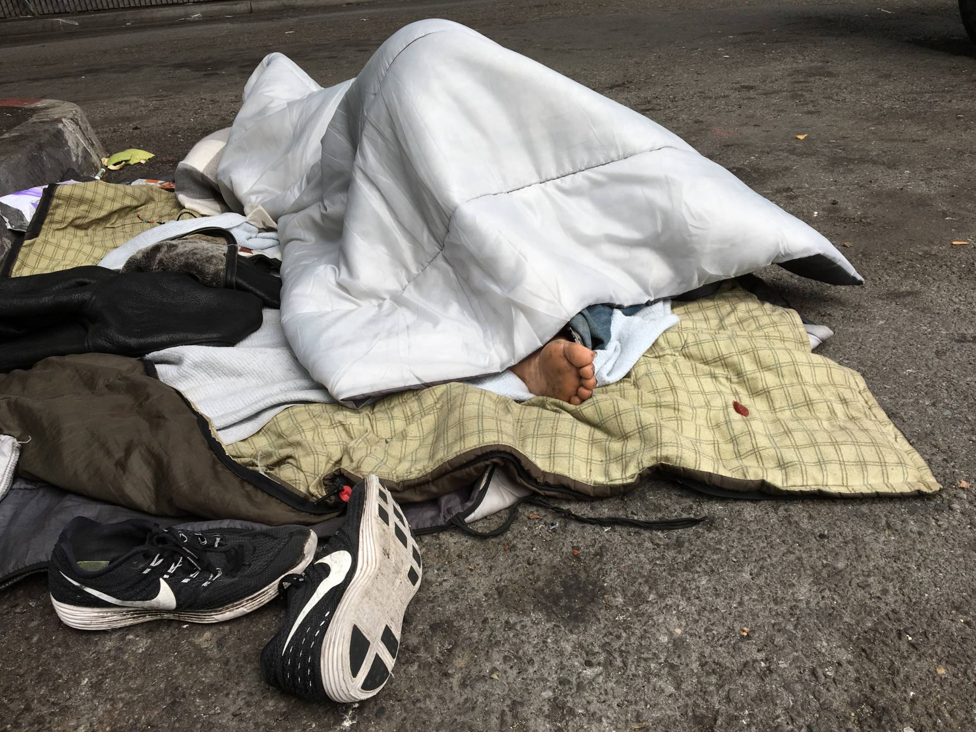 Sleeping on Dore Street, San Francisco. Dan Brekke/KQED