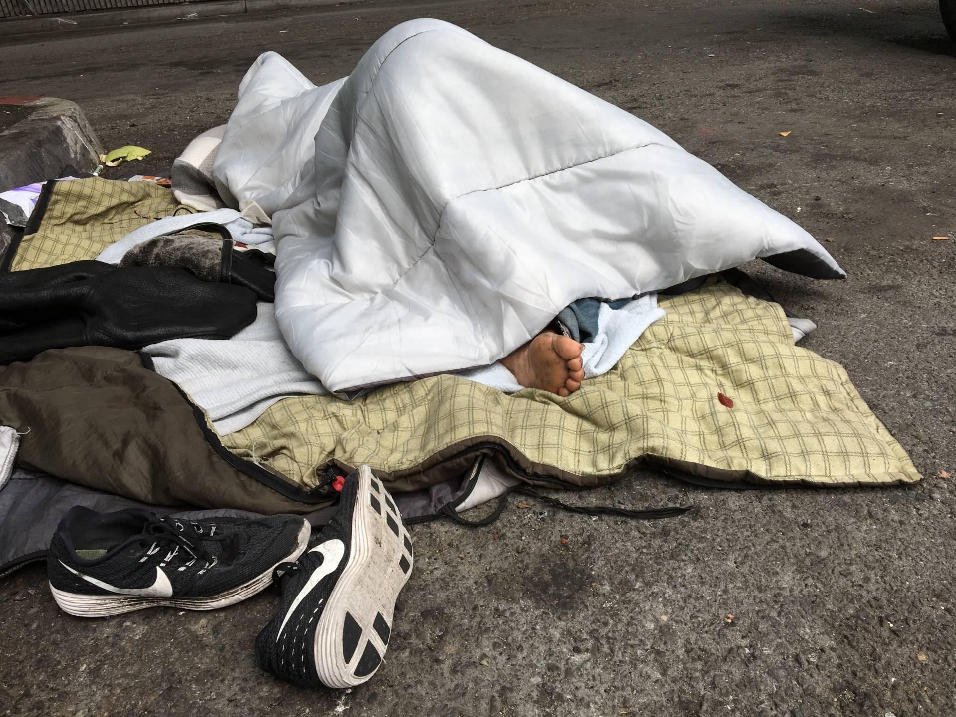 Sleeping on Dore Street, San Francisco. Dan Brekke/KQED