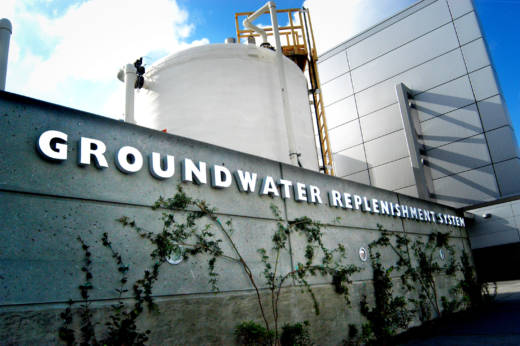 The Orange County Water District groundwater replenishment program is the largest plant of its kind in the nation, turning 100 million gallons a day of flushed water into drinking water.