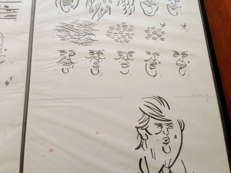 Some rough sketches for one of Weissman's Donald Trump comic strips.