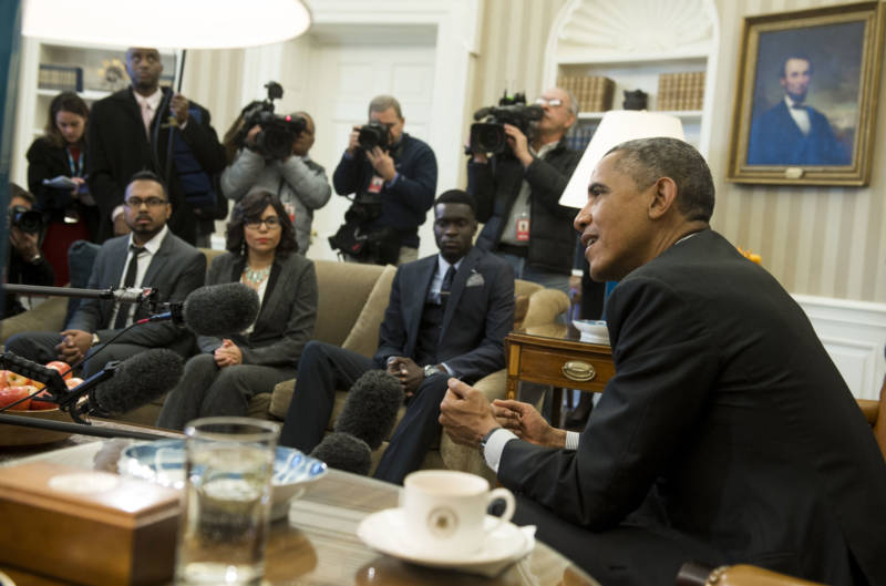 President Barack Obama speaks about immigration reform during a meeting with young immigrants, known as DREAMers, in the Oval Office in February, 2015.