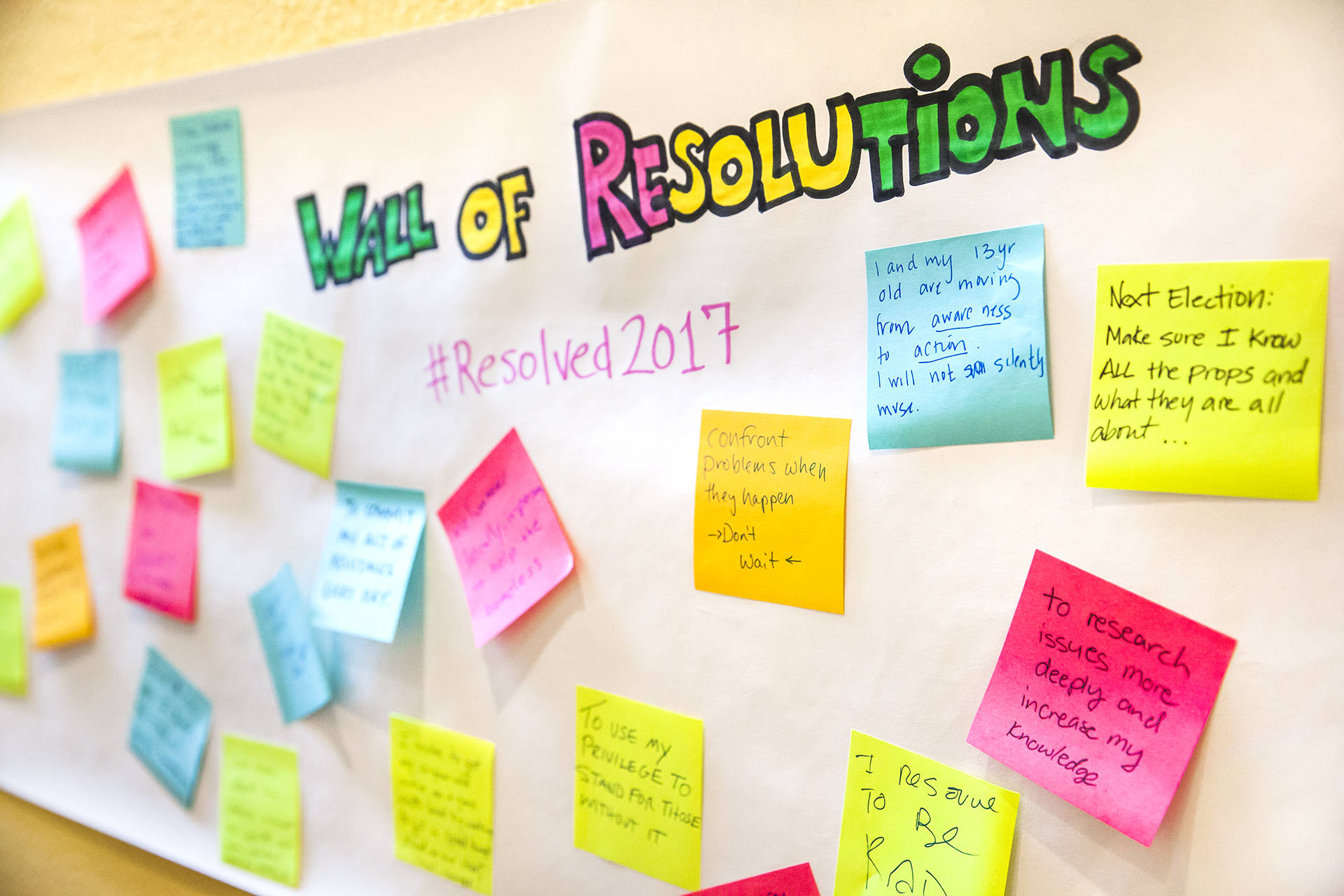 Wall of Resolutions at KQED. Brittany Hosea-Small/KQED