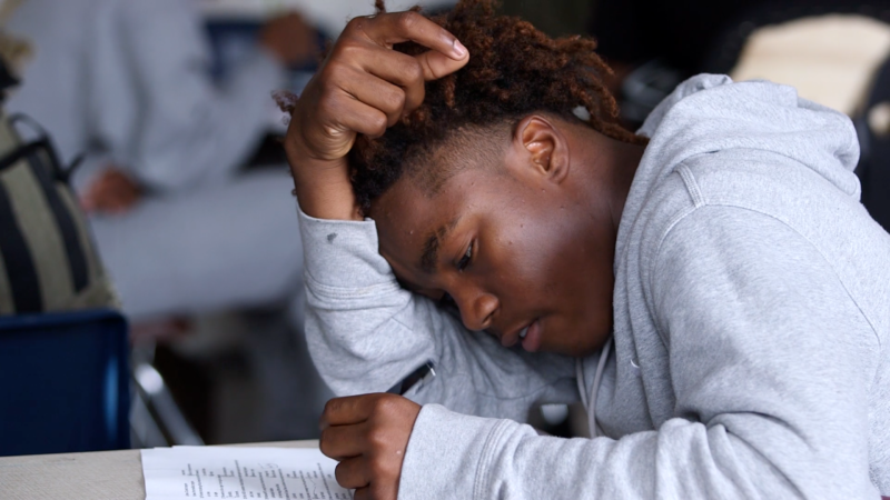 A Mission High School student takes part in the African American Male Achievement program.