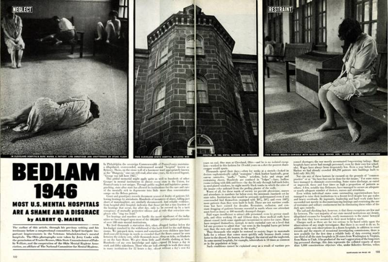 """Bedlam 1946"" spread from Life Magazine."
