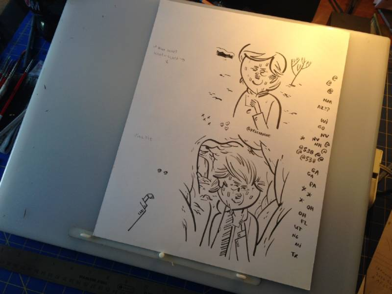 Steven Weissman's final comic strip of the election cycle is still sitting on the drafting board of his home studio