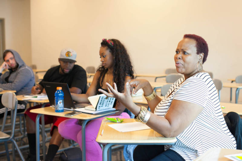Cynthia Graham, right, participates in a discussion in Leslie Tejada's English 100 class at West Los Angeles College in Los Angeles, Calif. on Thursday, Nov. 3, 2016.