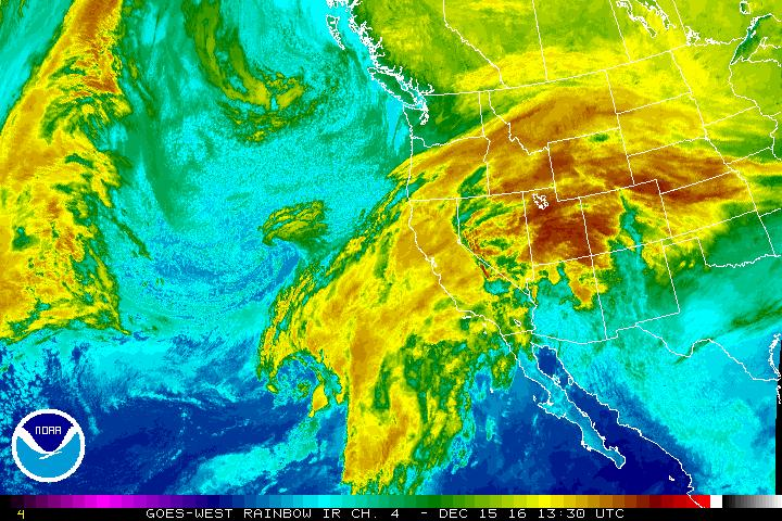 Infrared image from NOAA's GOES West satellite shows storm hitting California coast Thursday morning.