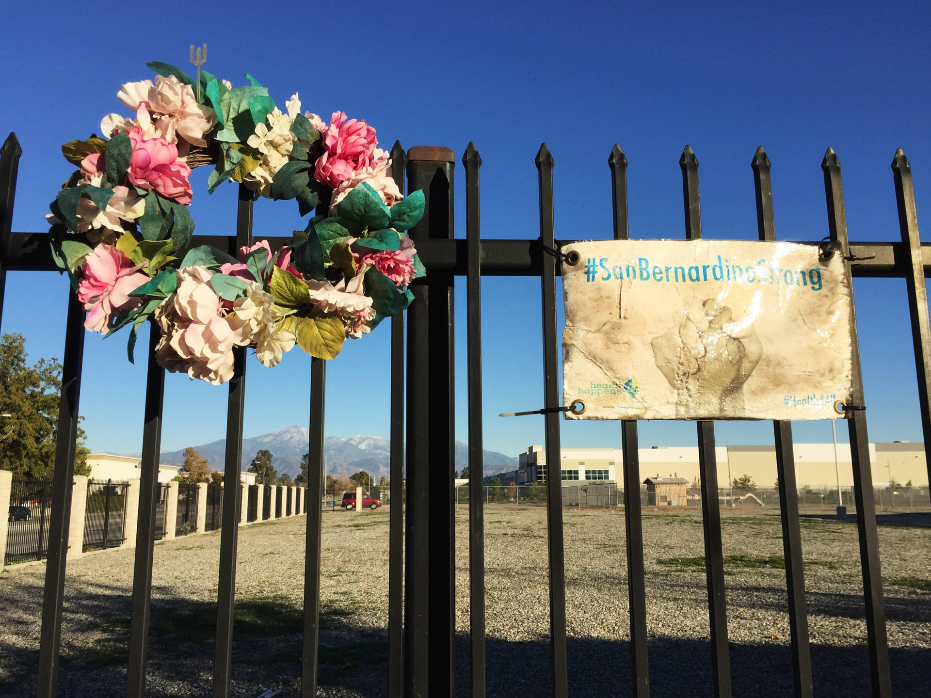 A memorial to the victims killed in San Bernardino on Dec. 2, 2015. Nathan Rott/NPR