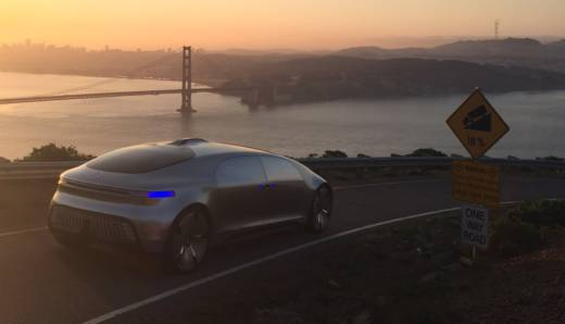The Mercedes-Benz F 015, an autonomous all-electric vehicle is tested in the Marin Headlands north of San Francisco on February 2015.
