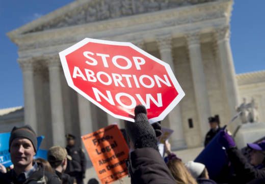 Anti-abortion activists rally outside of the Supreme Court in Washington, D.C.