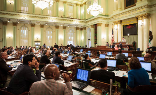 Members of the California Assembly consider a new state budget in 2015.