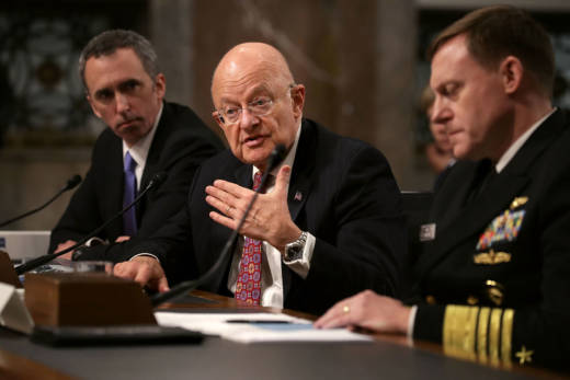 Defense Undersecretary for Intelligence Marcell Lettre II (L), Director of National Intelligence James Clapper (C) and United States Cyber Command and National Security Agency Director Admiral Michael Rogers testify before the Senate Armed Services Committee on January 5, 2017.
