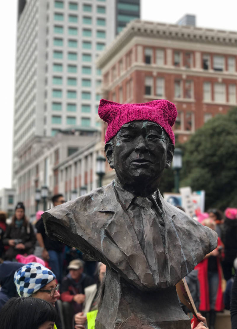 "A pink ""pussyhat"" sits on a bust of Frank Ogawa at Frank Ogawa Plaza on Jan. 21, 2017 in Oakland."