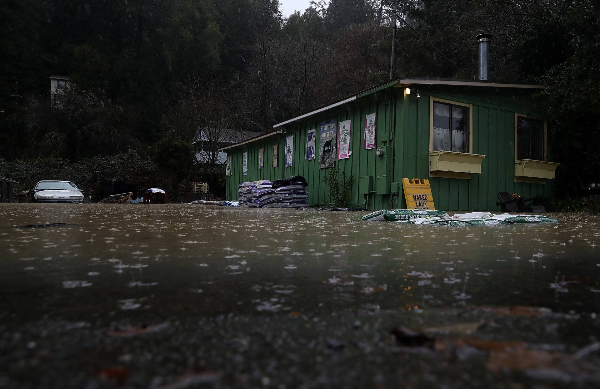 Floodwaters surround a nursery on Tuesday in Guerneville as the Russian River continues to run above flood stage.  Justin Sullivan/Getty Images