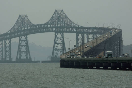 The view of the Richmond-San Rafael bridge is partially obscured by hazy smoke-filled air in June 2008, when Northern California suffered from numerous wildfires.