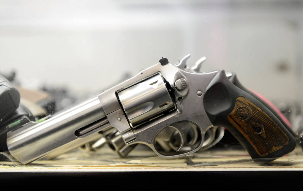 A 357 magnum revolver is displayed at the Los Angeles Gun Club.