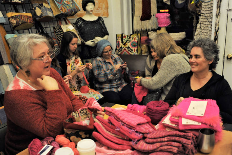 Longtime knitters Kazi Pitelka and Marina Mont'Ros at The Little Knittery.