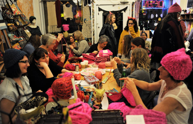 A group of women knit pussyhats at The Little Knittery in Atwater Village in Los Angeles.