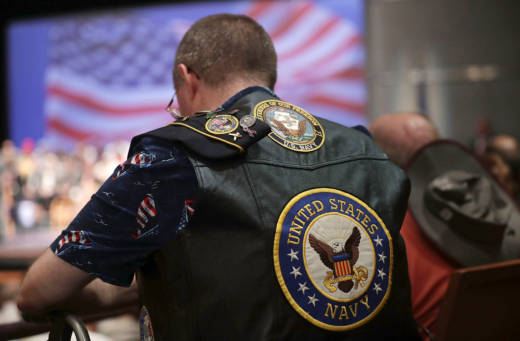 A U.S. Navy veteran attends a campaign event for then-presidential nominee Donald Trump on Sept. 6, 2016.