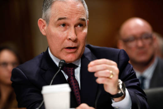 Oklahoma Attorney General Scott Pruitt, President-elect Donald Trump's choice to head the Environmental Protection Agency, testifies during his Senate confirmation hearing on Jan. 18, 2017.