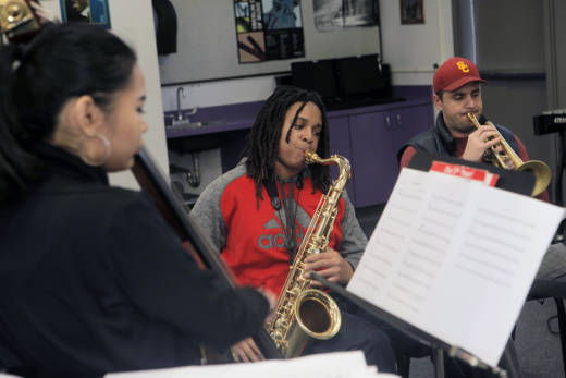 Jazz musicians from the San Diego School of Creative and Performing Arts rehearse a Duke Ellington piece they'll be playing in Washington, D.C. at a special inauguration week luncheon to highlight California culture.