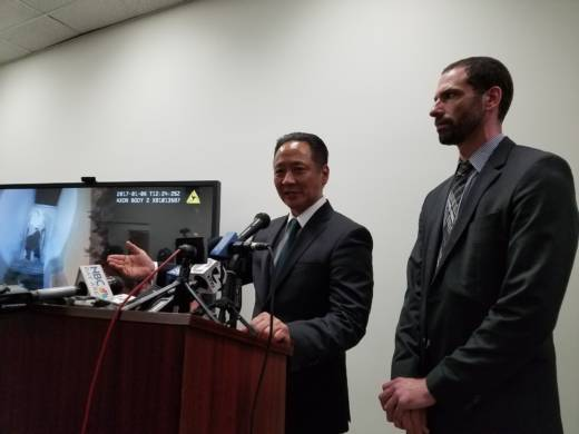 San Francisco Public Defender Jeff Adachi and Deputy Public Defender Brian Pearlman release SFPD body-camera video on Jan. 18. The video captured the Jan. 6 police shooting of Sean Moore.