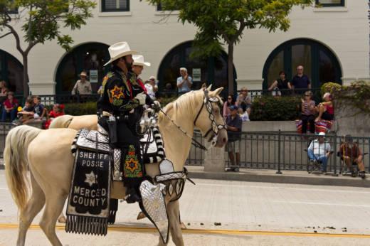 Merced County Sheriff's Posse members ride in Santa Barbara.