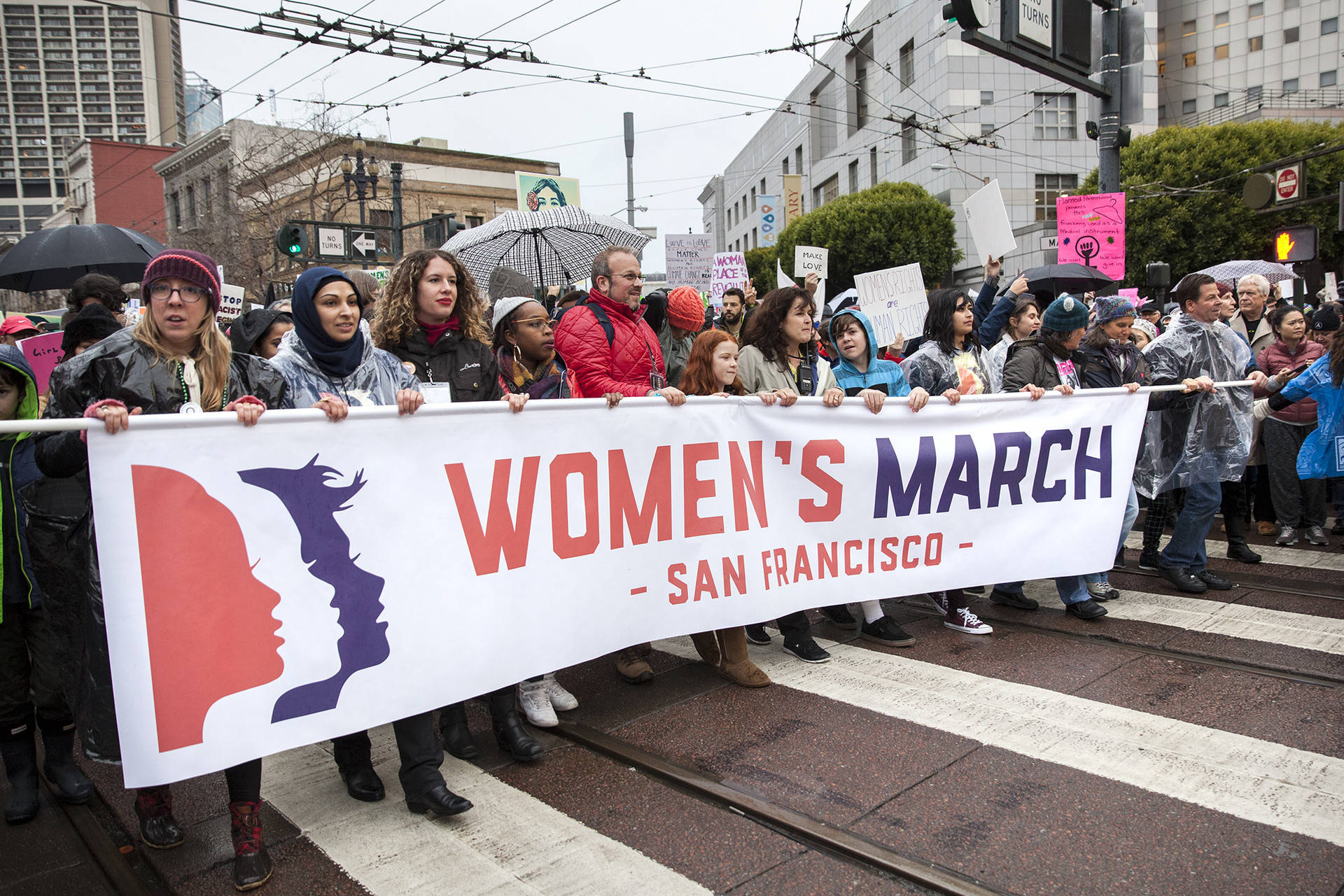 San Francisco's Women's March began at the Civic Center Plaza in San Francisco on Jan. 21, 2017. Even with looming clouds and rain thousands joined in the march down Market St. Brittany Hosea-Small/KQED