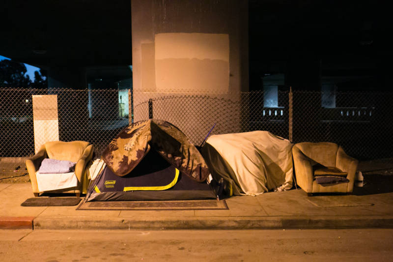 A tent under a freeway overpass in Oakland, photographed on Tuesday, Jan. 31, 2017, the day of the Point-In-Time survey of Alameda County's homeless population.