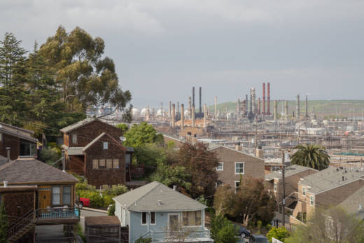 For many residents of Point Richmond, the Chevron oil refinery is rarely out of sight. This photo was taken in 2014.