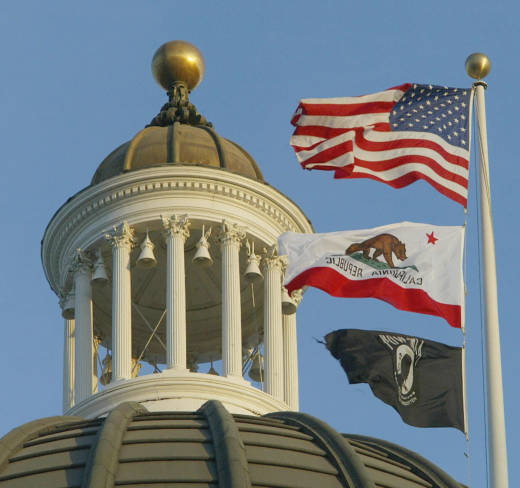 A detail of the top of the dome of the California Capitol building in Sacramento.
