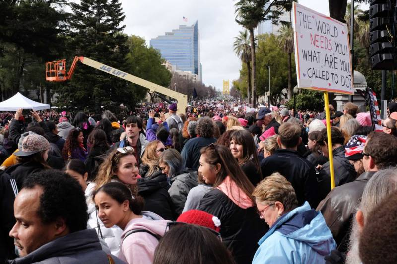 Thousands of demonstrators marched down the Capitol Mall during the Sacramento Women's March on Saturday, Jan. 21, 2017. The march culminated with a rally on the steps of the Capitol Building, with speakers, musicians and poetry performances.