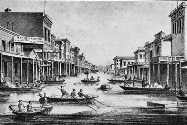 Sacramento during the winter of 1861-62, from contemporary newspaper illustrations.