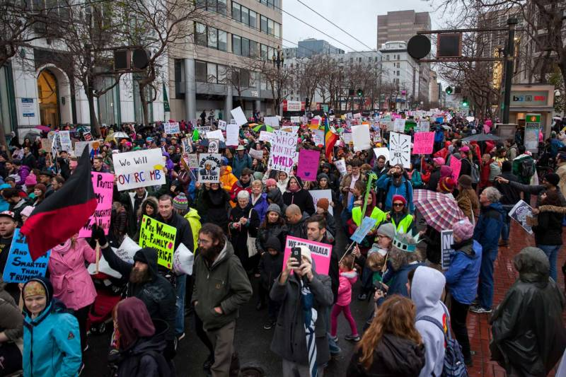Thousands of protesters join together to march in the Women's March in San Francisco on Jan. 21, 2017.