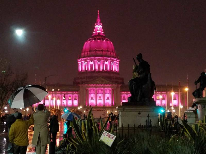 San Francisco City Hall on Jan. 21, 2017, after tens of thousands of people joined the Women's March a day after Donald Trump was inaugurated.