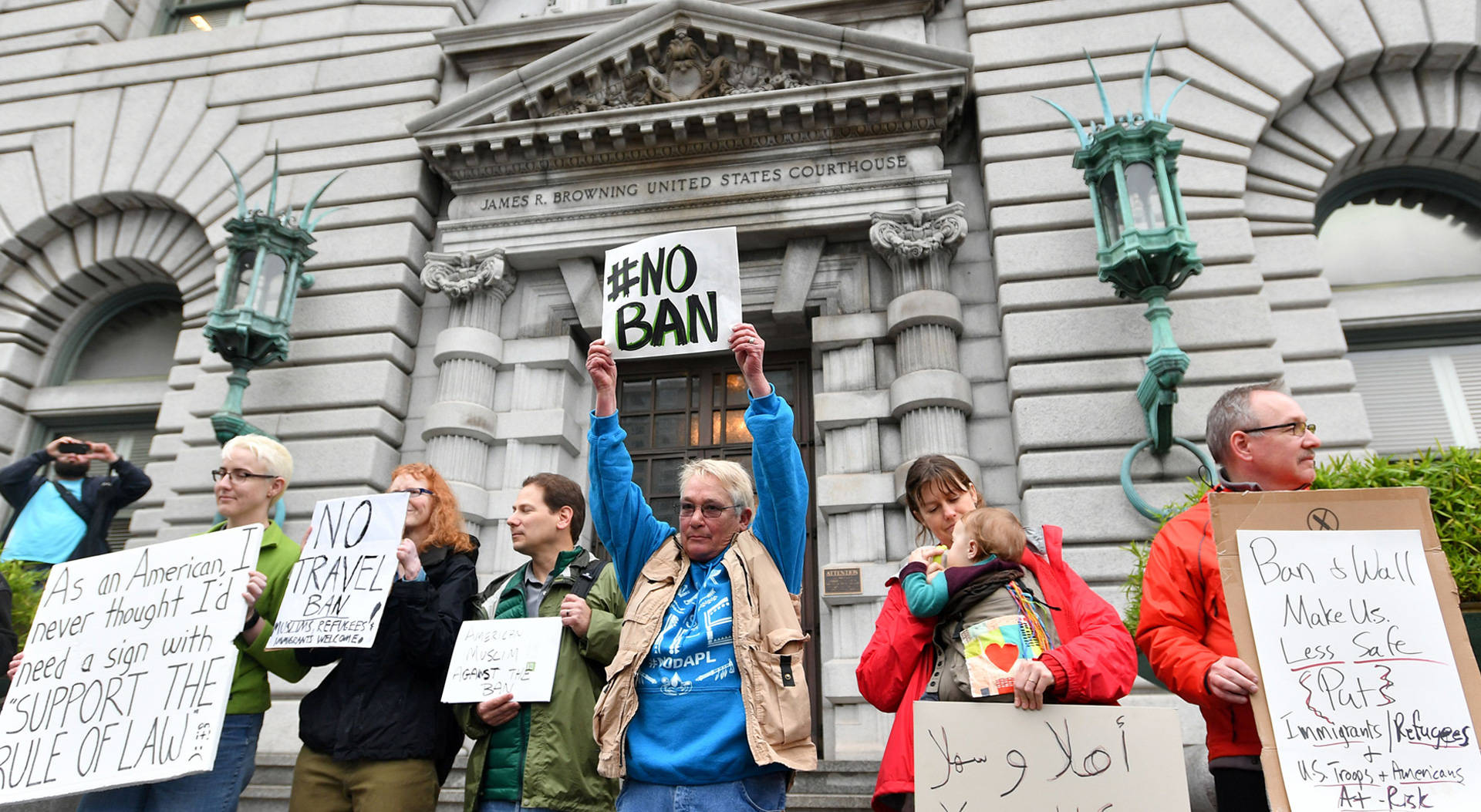 Protesters demonstrate in front of the U.S. 9th Circuit Court of Appeals in San Francisco on Feb. 7, 2017. Josh Edelson/AFP/Getty Images