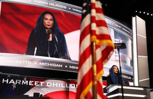 Harmeet Dhillon, vice chair of the California Republican Party, prays during the opening of the second day of the Republican National Convention on July 19, 2016 in Cleveland, Ohio.