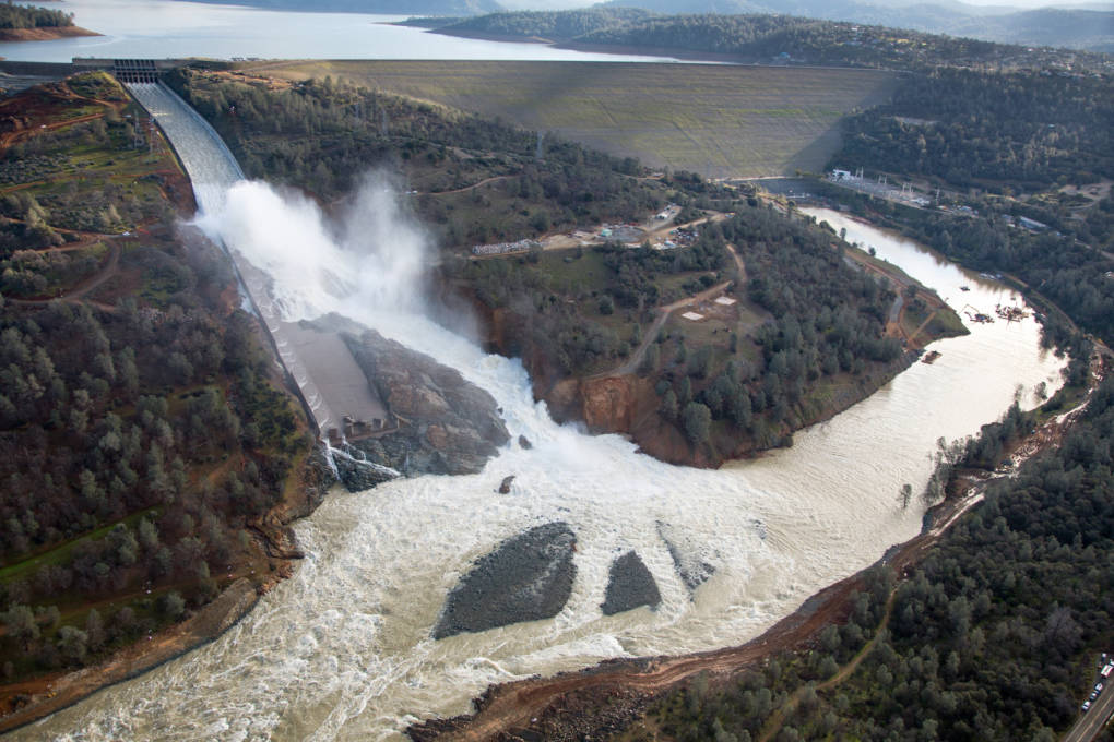 An aerial view of the damaged Oroville Dam spillway, Feb. 27, 2017.