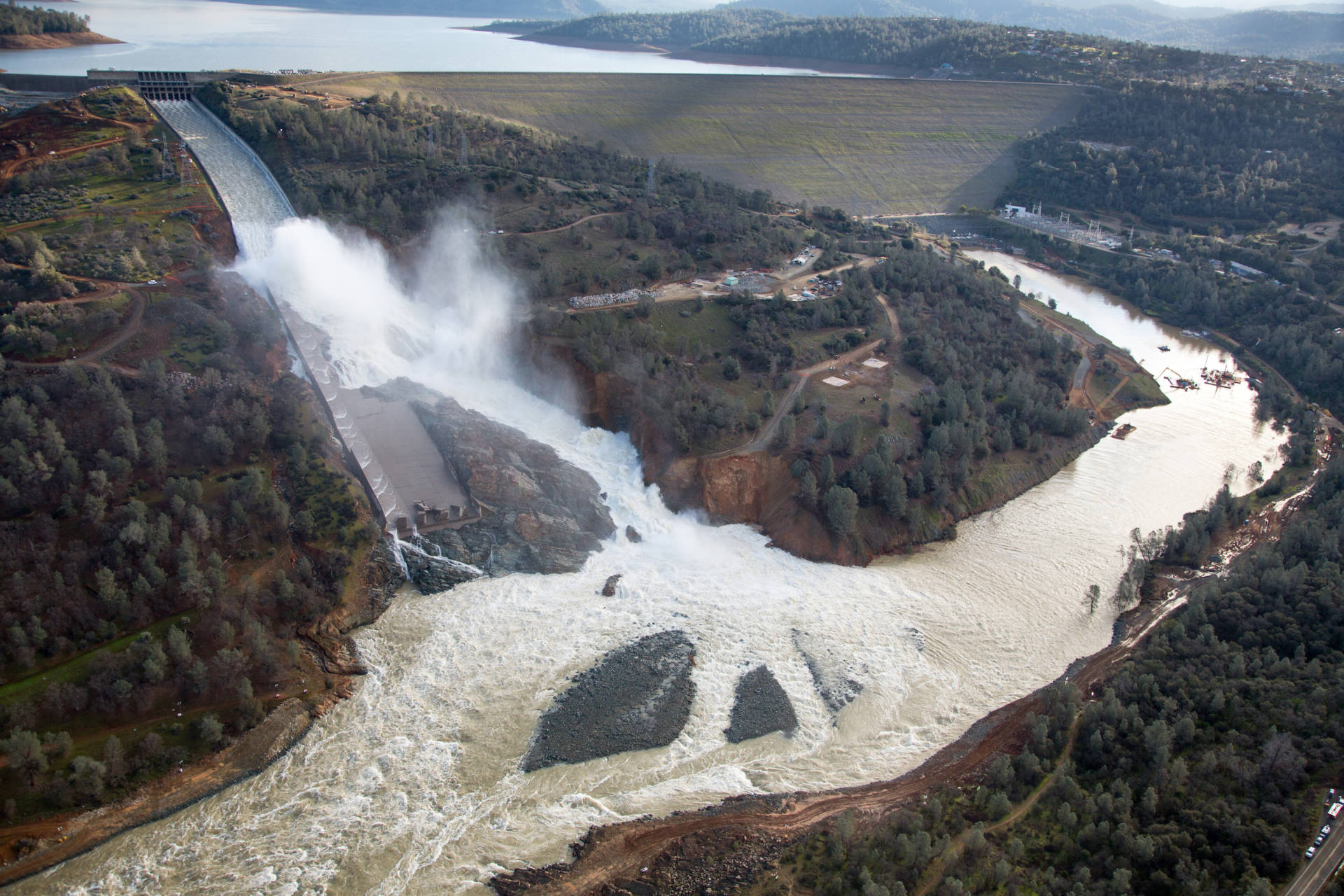 An aerial view of the damaged Oroville Dam spillway, Feb. 27, 2017.  Dale Kolke / California Department of Water Resources