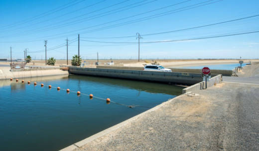 The Russell Avenue bridge over the Delta-Mendota Canal in Firebaugh had subsided so much in July, 2015 that there was almost no space between the bottom of the bridge and the canal water.
