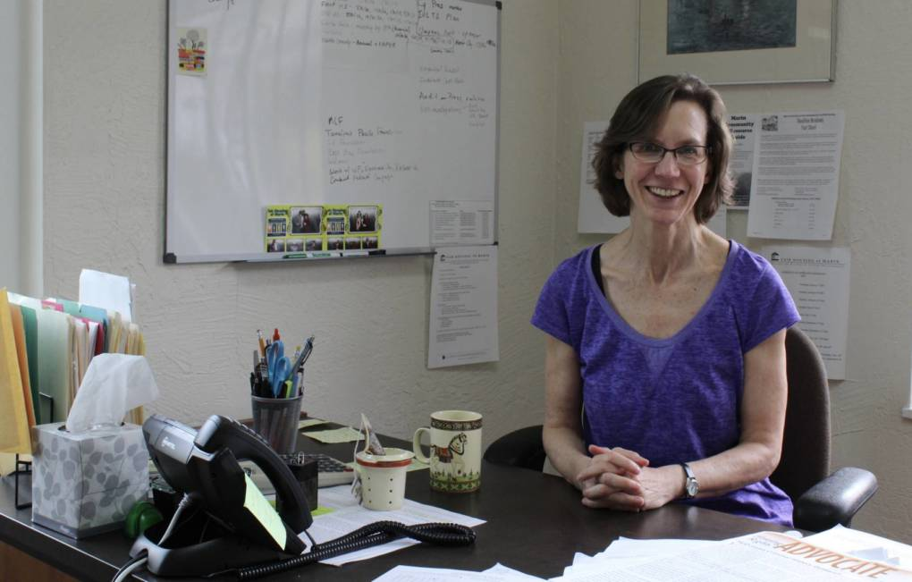 Caroline Peattie, executive director of Fair Housing Advocates of Northern California, sits in her office in San Rafael.