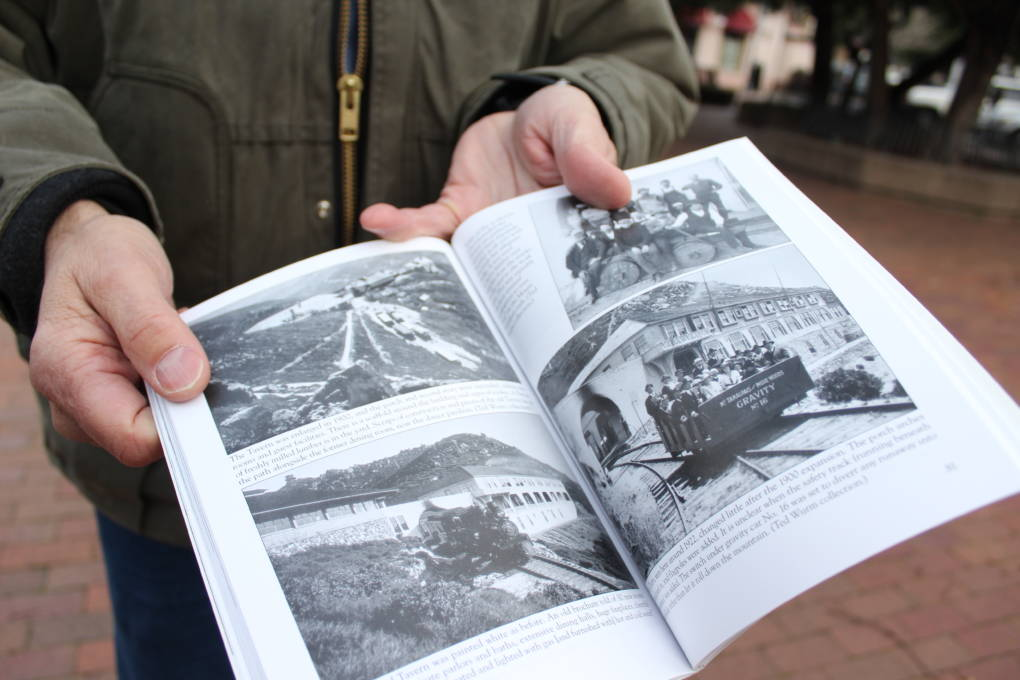 Fred Runner shows historic photos of the Mount Tam Scenic Railway from his book.