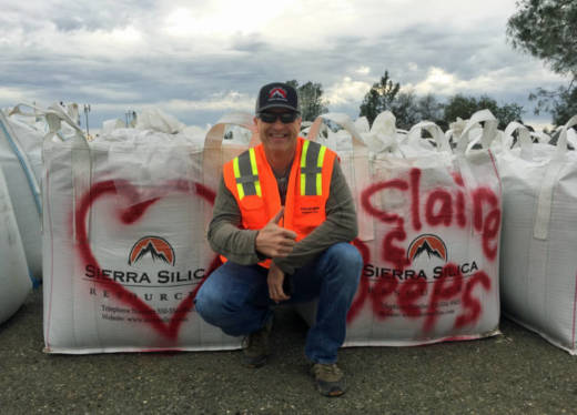 Quarry co-owner Mike Starcher improvised this gravel-sack valentine for his two girls, after duty called at the Oroville Dam.