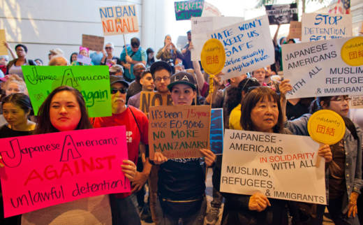 Protesters gathered at Los Angeles International Airport to demonstrate against President Trump's executive order effectively banning citizens from seven Muslim-majority countries.