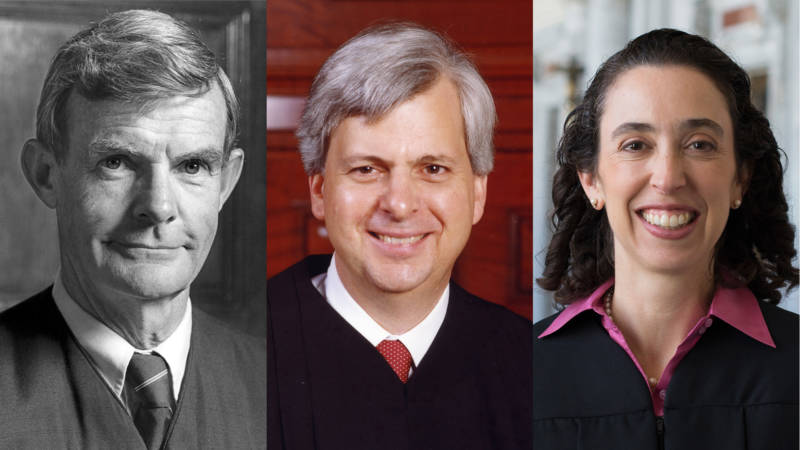 The 9th U.S. Circuit Court of Appeals panel which reviewed President Trump's travel ban: Judge William C. Canby, Jr., Judge Richard R. Clifton and Judge Michelle T. Friedland (L-R).