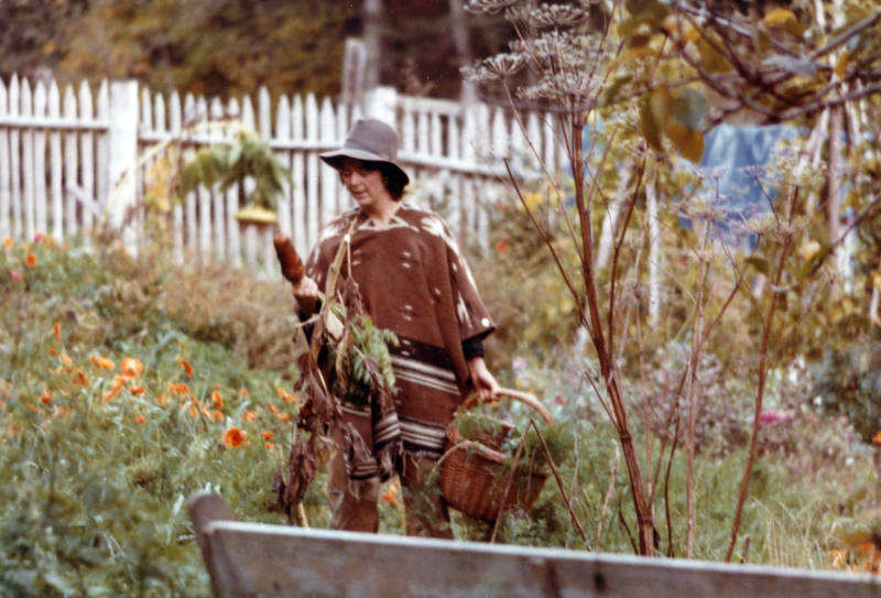Meredith, Tesilya's mother, in the garden at Black Bear Ranch around 1976.