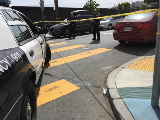 The scene of a San Francisco Police Department fatal officer-involved shooting at 18th and Shotwell streets on April 7, 2016.