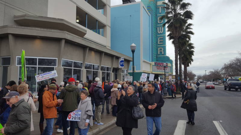 Crowds gather outside the location of Rep. Tom McClintock's (R-Calif.) town hall meeting in Roseville, CA on Saturday February 4, 2016.